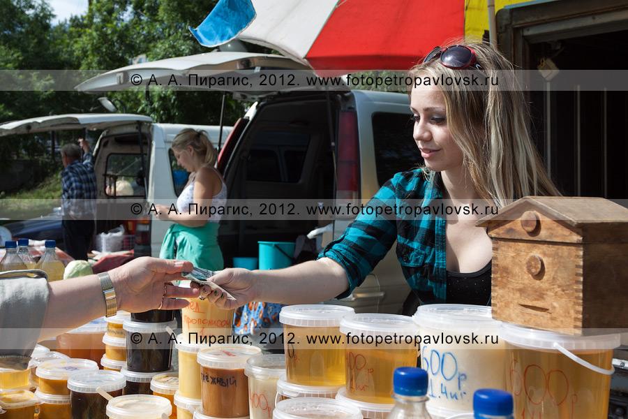 Фотография: торговля медом на сельскохозяйственной ярмарке в Петропавловске-Камчатском