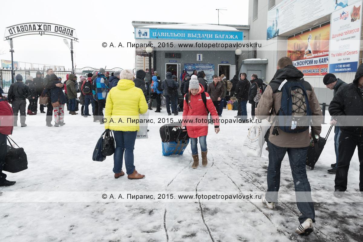 Люди возле пункта выдачи багажа в терминале аэропорта Петропавловск-Камчатский (аэропорт Елизово) на Камчатке