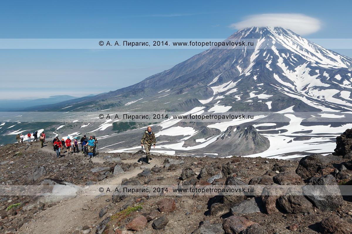 Фотография: туристическая группа поднимается по тропе на Авачинский вулкан на фоне Корякского вулкана. Камчатский край