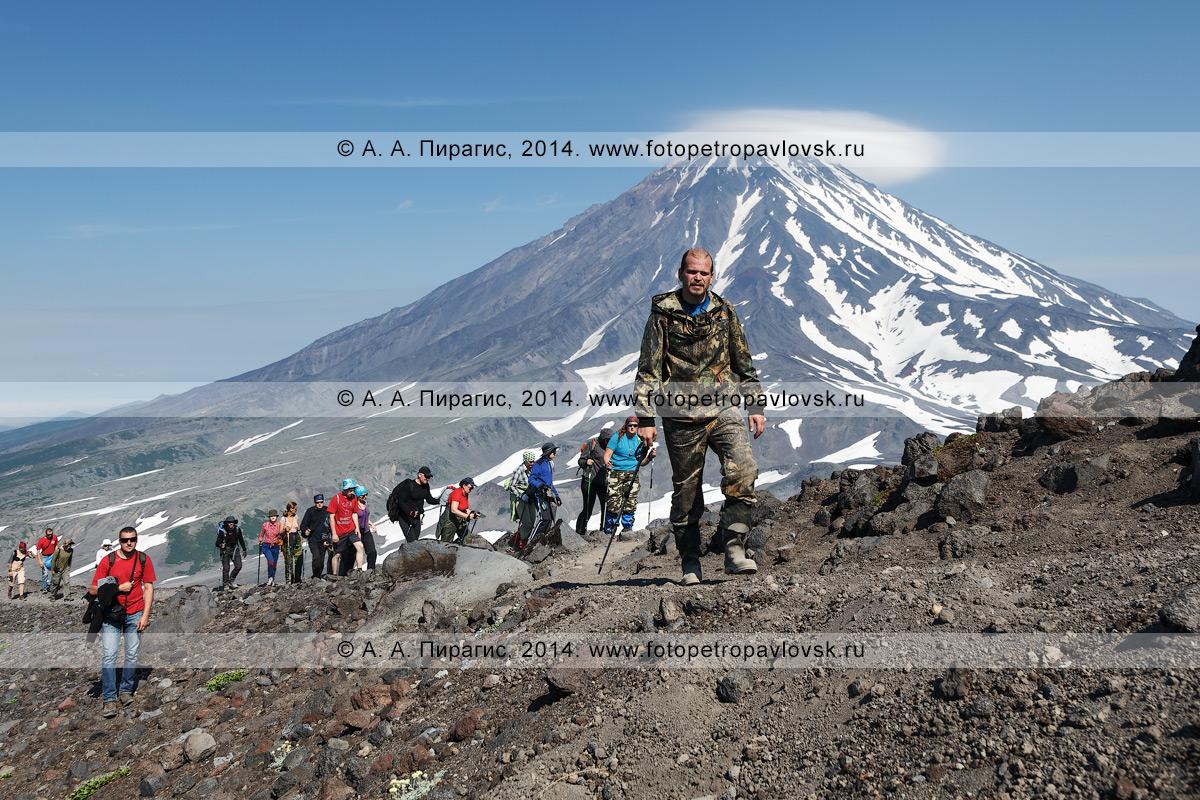 Фотография: пеший туризм на полуострове Камчатка — туристическая группа восходит на вулкан Авачинский на фоне вулкана Корякского. Полуостров Камчатка