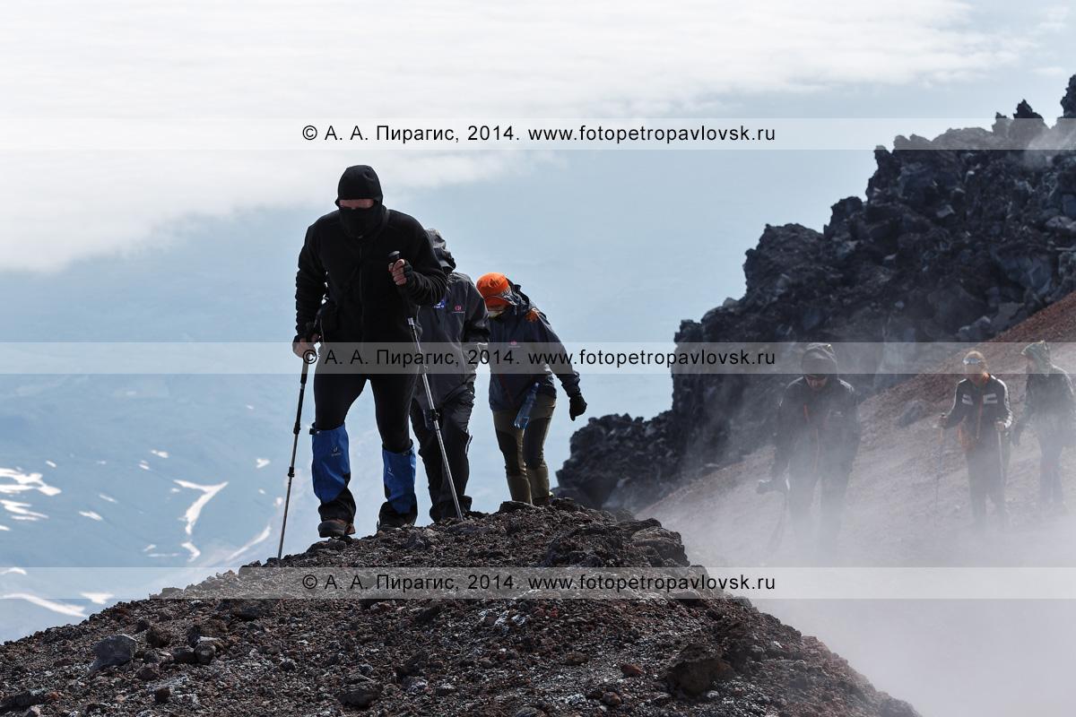 Фотография: группа туристов и путешественников идет по кромке кратера Авачинского вулкана — действующего вулкана полуострова Камчатка