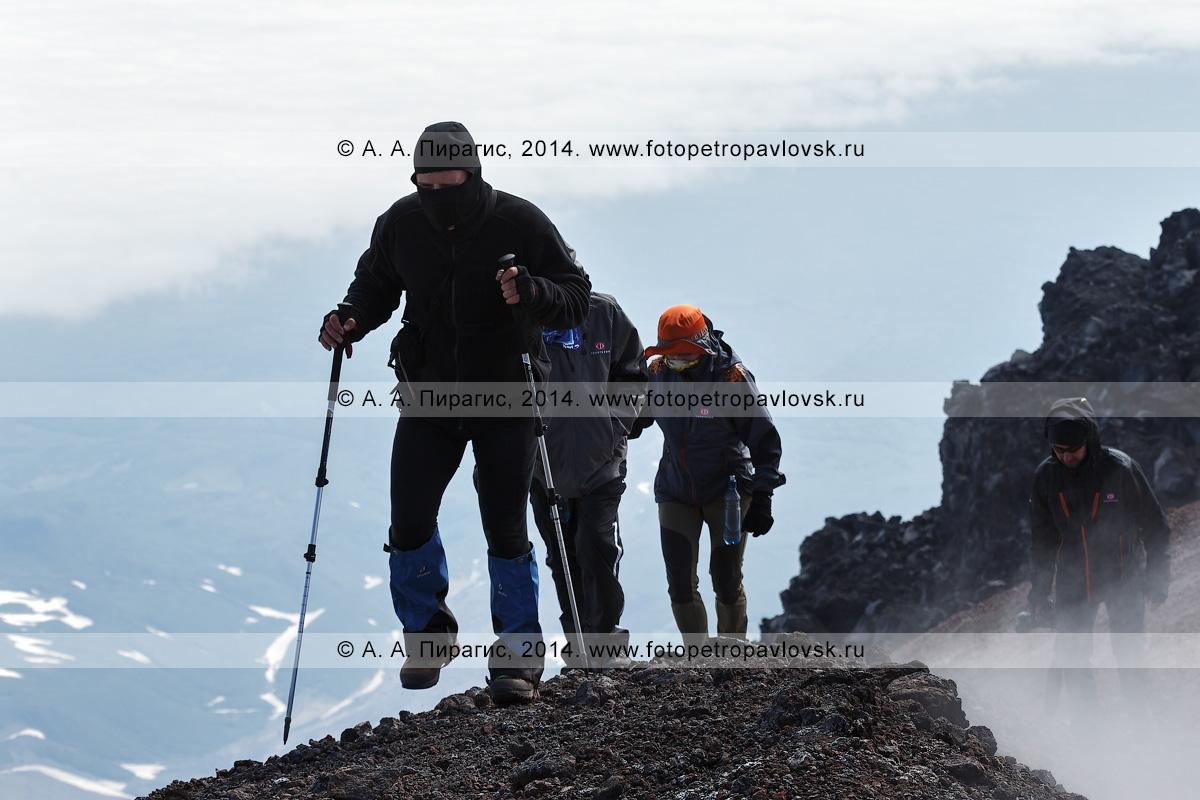Фотография: туристы и путешественники идут по борту кратера действующего Авачинского вулкана на полуострове Камчатка