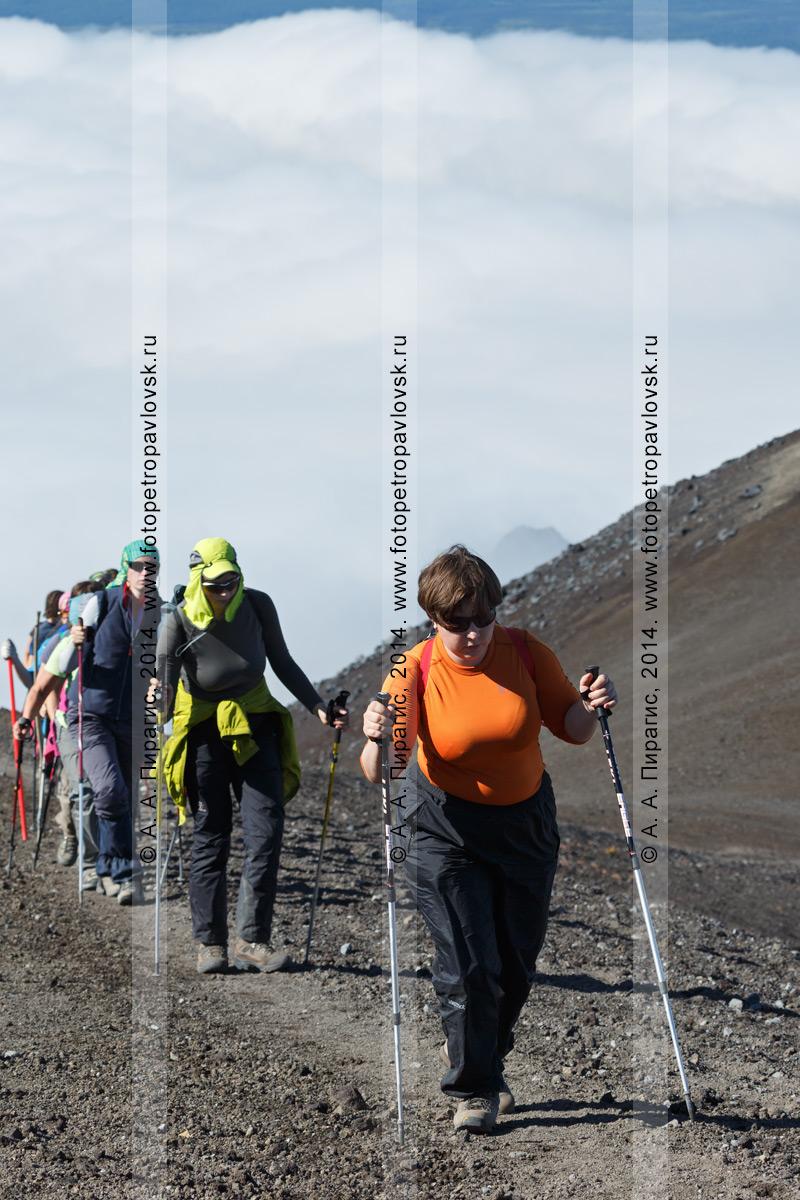 Фотография: девушки-туристки поднимаются по тропе на вулкан Авачинская сопка в Камчатском крае