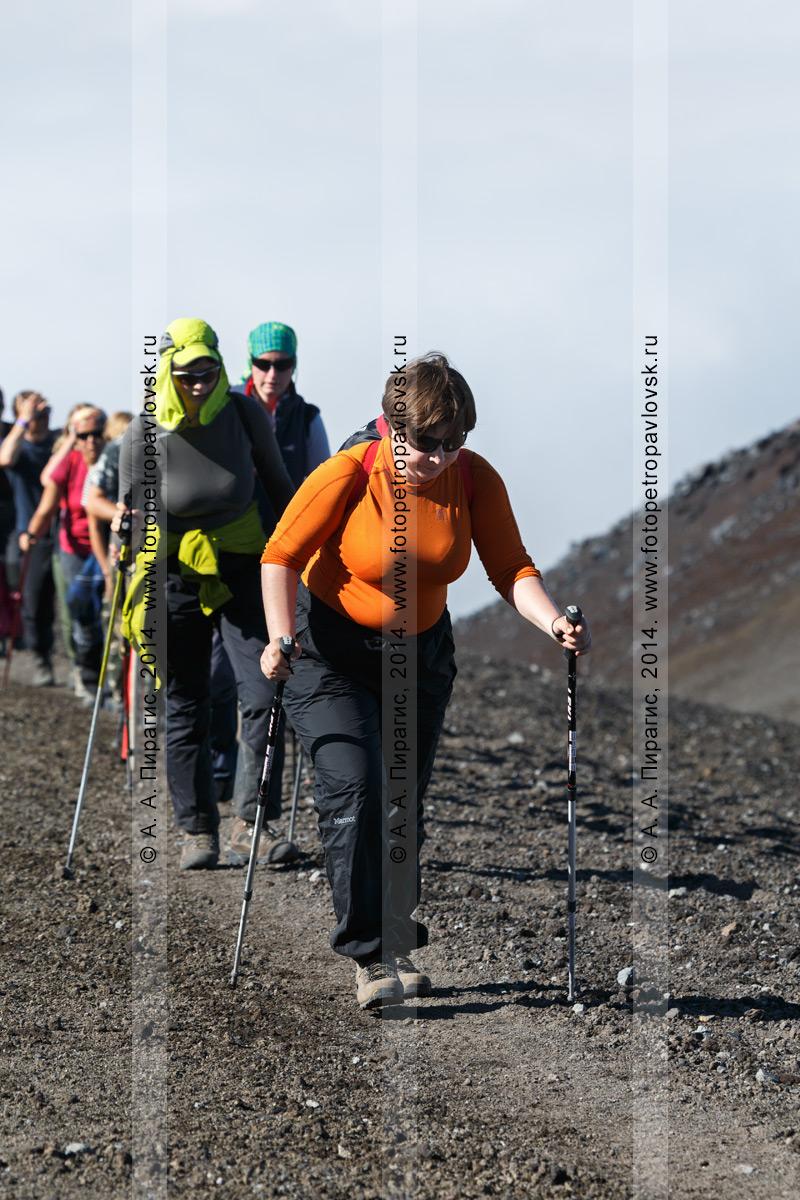 Фотография: группа путешественников поднимается по туристической тропе на вулкан Авачинская сопка на Камчатке