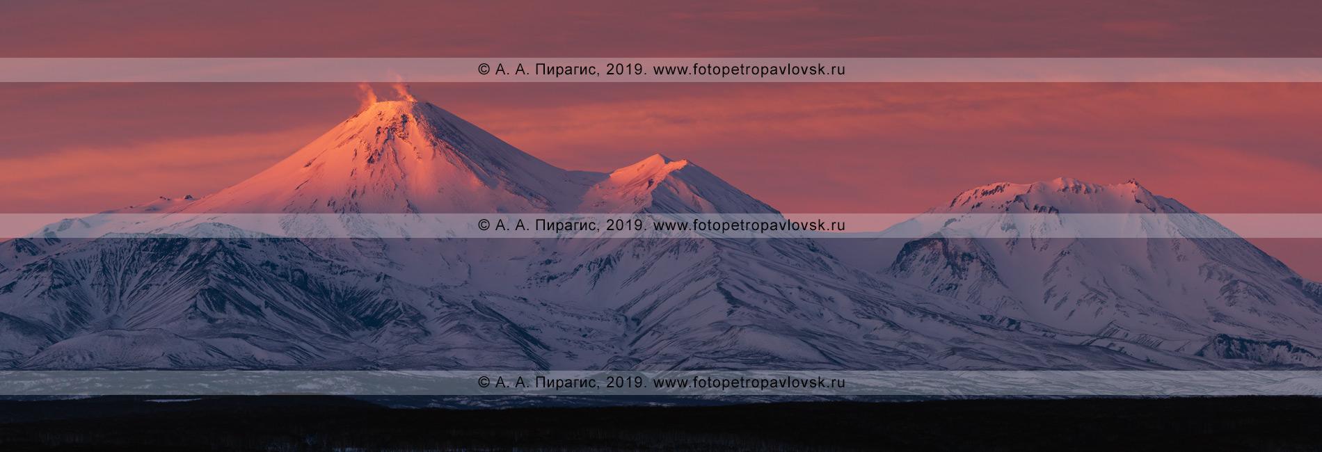 Панорамная фотография: Авачинский вулкан и Козельский вулкан на полуострове Камчатка, вечерний зимний вид на вулканы на закате солнца