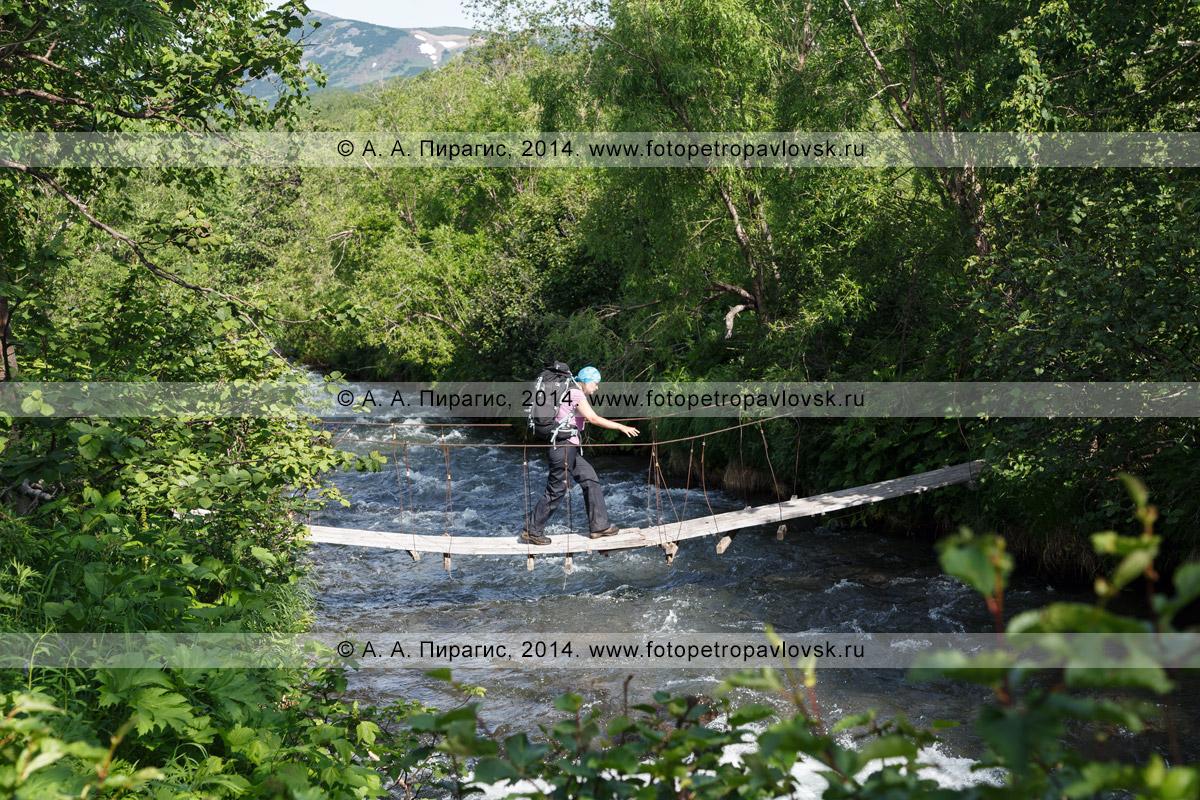 Фотография: девушка-туристка с рюкзаком переходит по пешеходному висячему мосту (подвесному мосту) через живописную горную реку на Камчатке