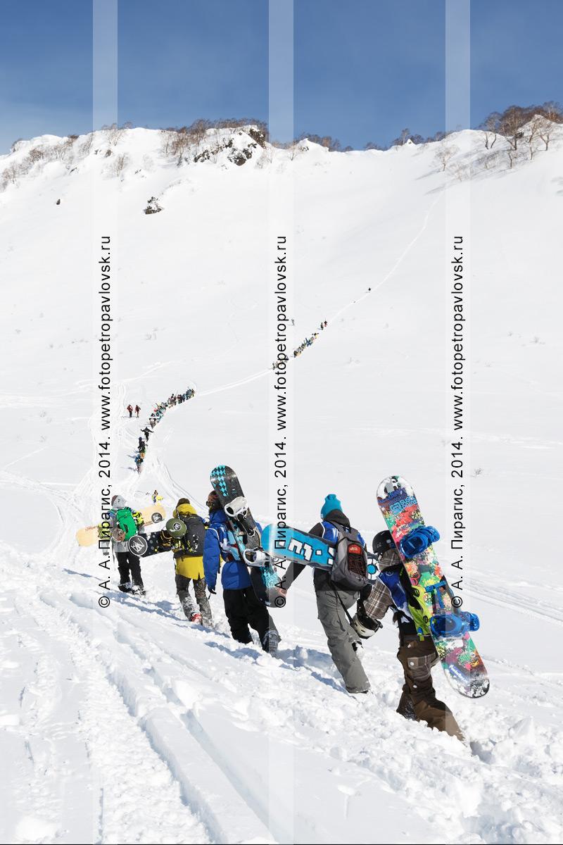 Фотография: группа сноубордистов и горнолыжников поднимается пешком на гору для фрирайда. Камчатский край