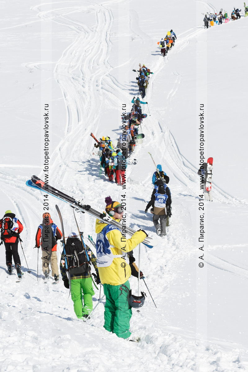 Фотография: горнолыжники и сноубордисты поднимаются на гору для фрирайда. Полуостров Камчатка