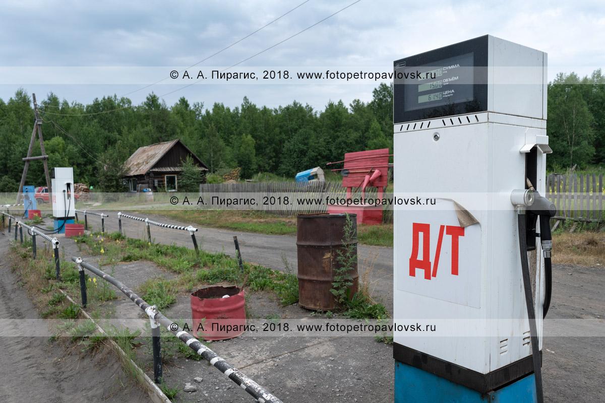 Фотография: топливораздаточная колонка для дизельного топлива на провинциальной автозаправочной станции в поселке Козыревск Усть-Камчатского района Камчатского края
