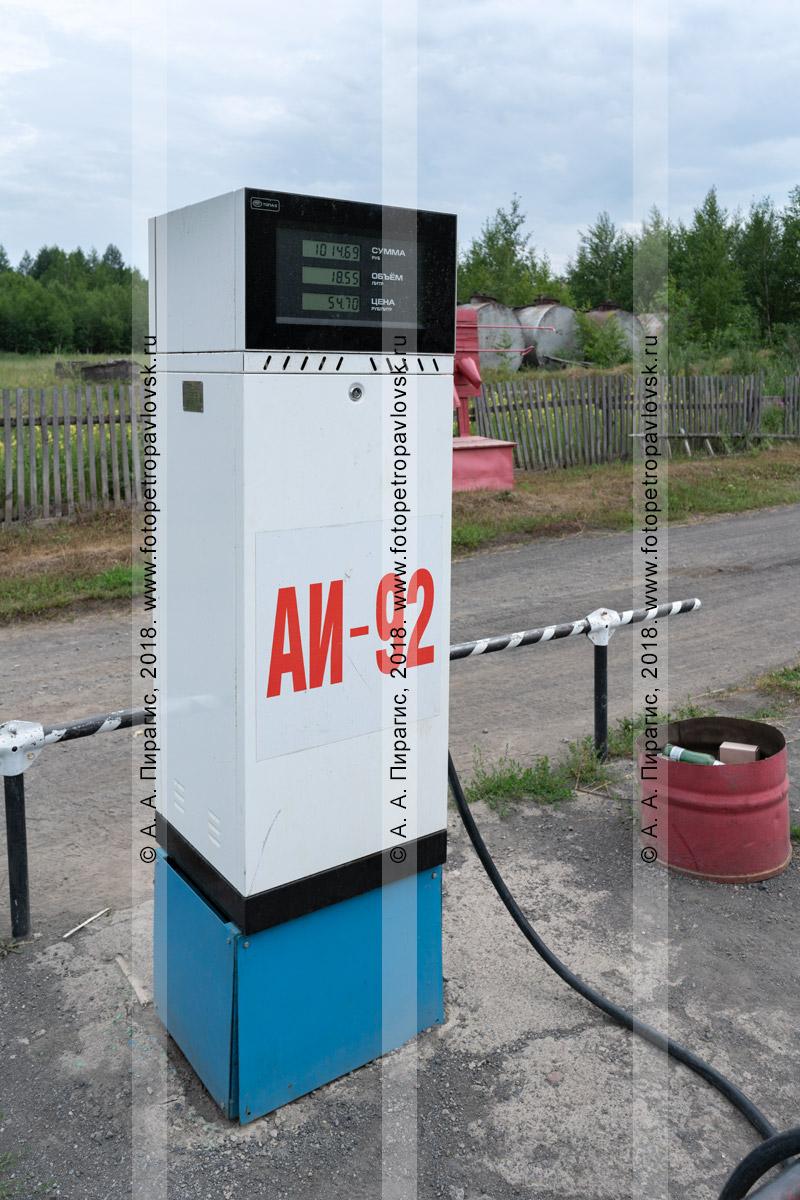 Фотография: автозаправочная колонка дизельного топлива на поселковой провинциальной автомобильной заправке