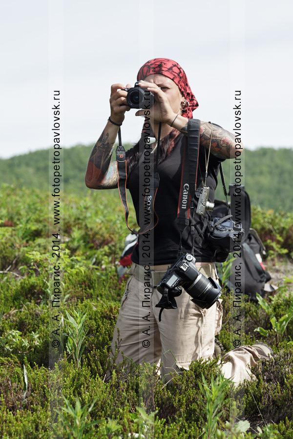Фотография: девушка-туристка фотографирует на лоне дикой природы полуострова Камчатка