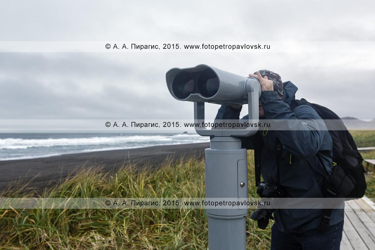 Фотография: турист и путешественник, фотограф любуется Тихим океаном в пасмурную погоду, смотря в стационарный обзорный бинокль для осмотра достопримечательностей. Халактырский пляж, Камчатка