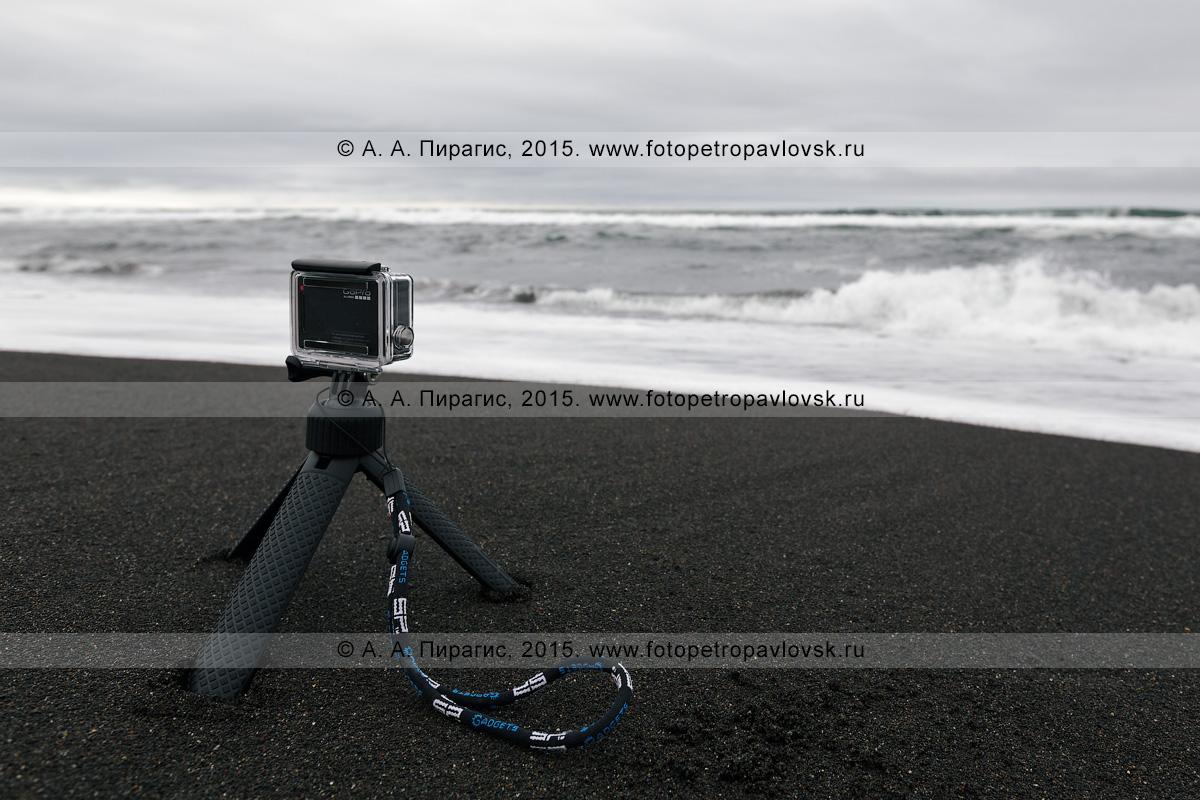 """Фотография: Халактырский пляж на полуострове Камчатка, экшн-камера """"GoPro Hero 4 Black Edition"""" снимает Тихий океан"""