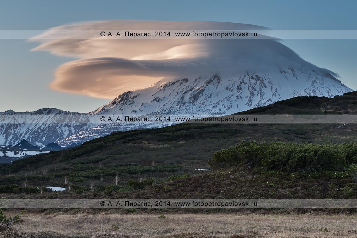 Фотография: действующий камчатский вулкан Ичинский (Ichinsky Volcano) на закате