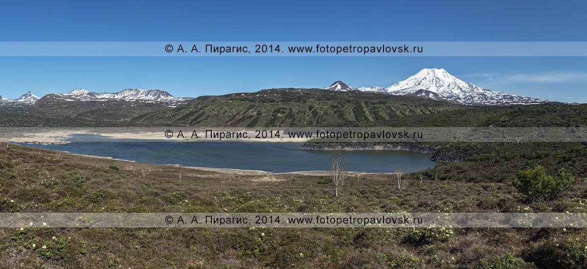 Фотография: панорама озера Арбунат и вулкана Ичинская сопка (Ichinskaya Sopka) на Камчатке