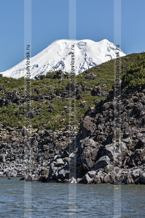 Фотография: лавовый поток вулкана Северный Черпук (подпрудивший озеро Арбунат) на фоне активного, действующего Ичинского вулкана. Камчатка, Срединный хребет