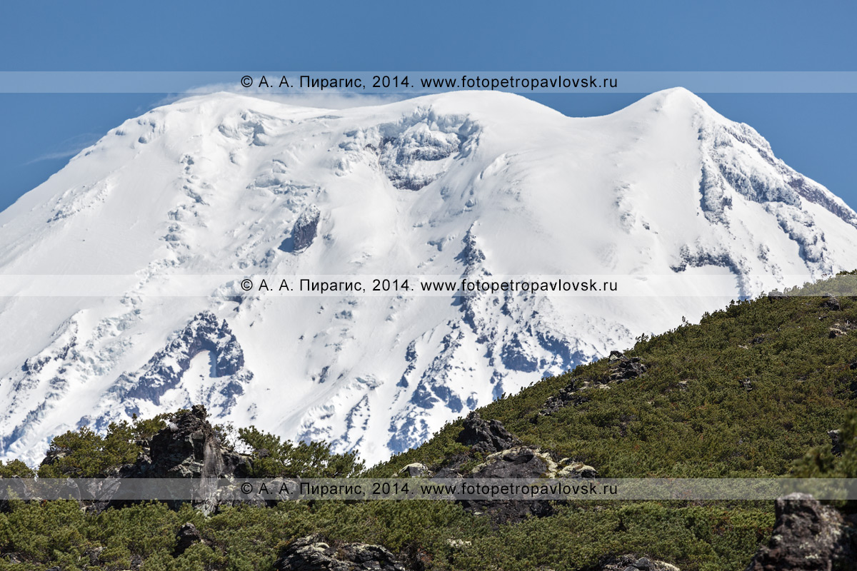 Фотография: вершинный конус действующего вулкана Ичинская сопка на полуострове Камчатка