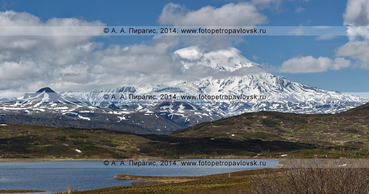 Фотография: панорамный вид на вулкан Ичинский (Ichinsky Volcano) — действующий, активный камчатский вулкан и озеро Тымкыгытгын