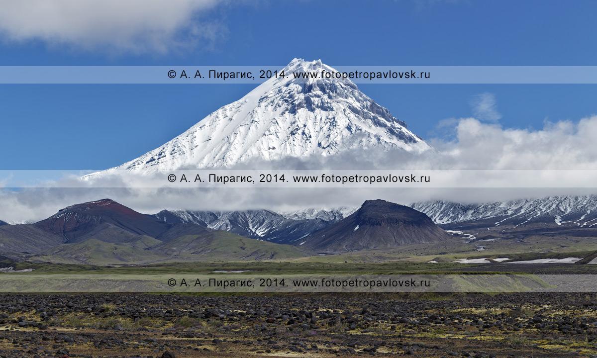 Красивый вулкан Камень (Kamen Volcano) с разрушенной острой вершиной. Камчатка, Центральная Камчатская депрессия, Ключевская группа вулканов