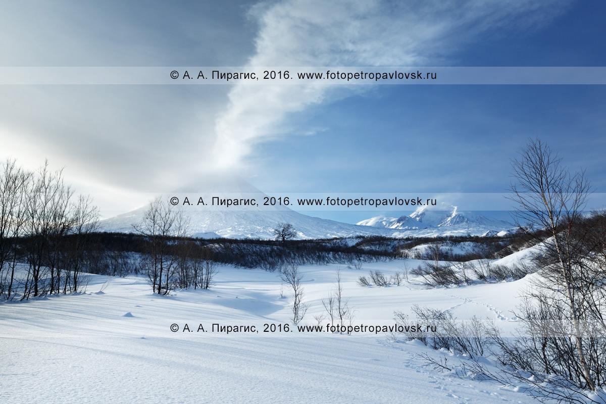 Фотография: зимний вид на действующий Ключевской вулкан. Камчатка, Центральная Камчатская депрессия, Ключевская группа вулканов