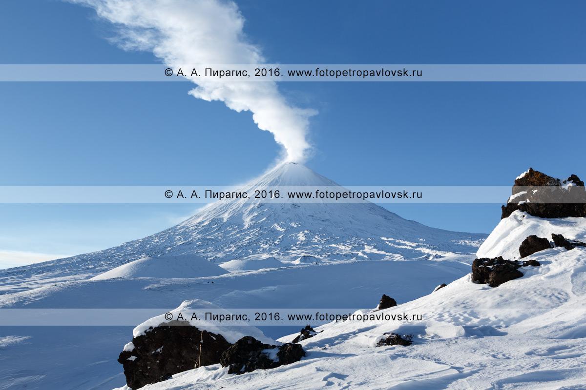 Фотография: активный вулкан Ключевская сопка в ясный, солнечный день. Камчатский край