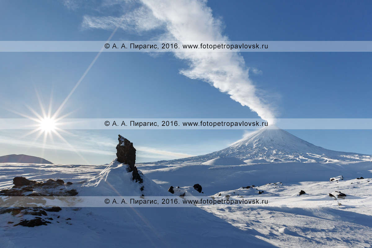 Фотография: красивый вид на активный Ключевской вулкан, из кратера которого вырывается мощный столб газа и пара. Полуостров Камчатка
