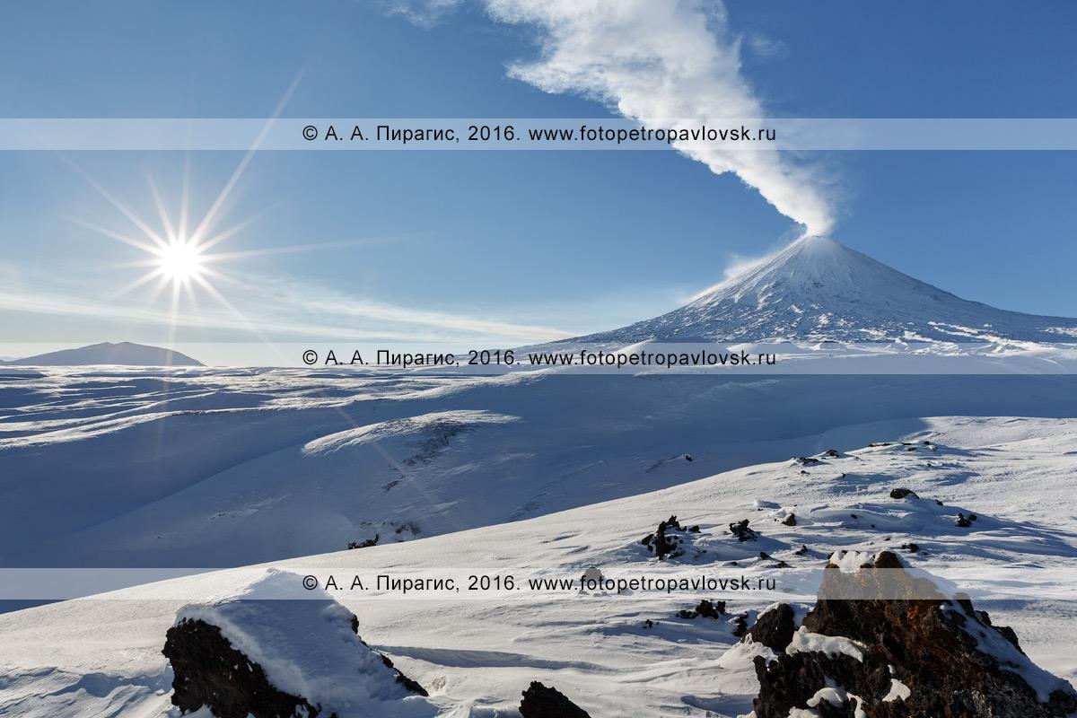 Фотография: красивый вид на действующий камчатский вулкан — Ключевскую сопку (Klyuchevskaya Sopka). Ключевская группа вулканов