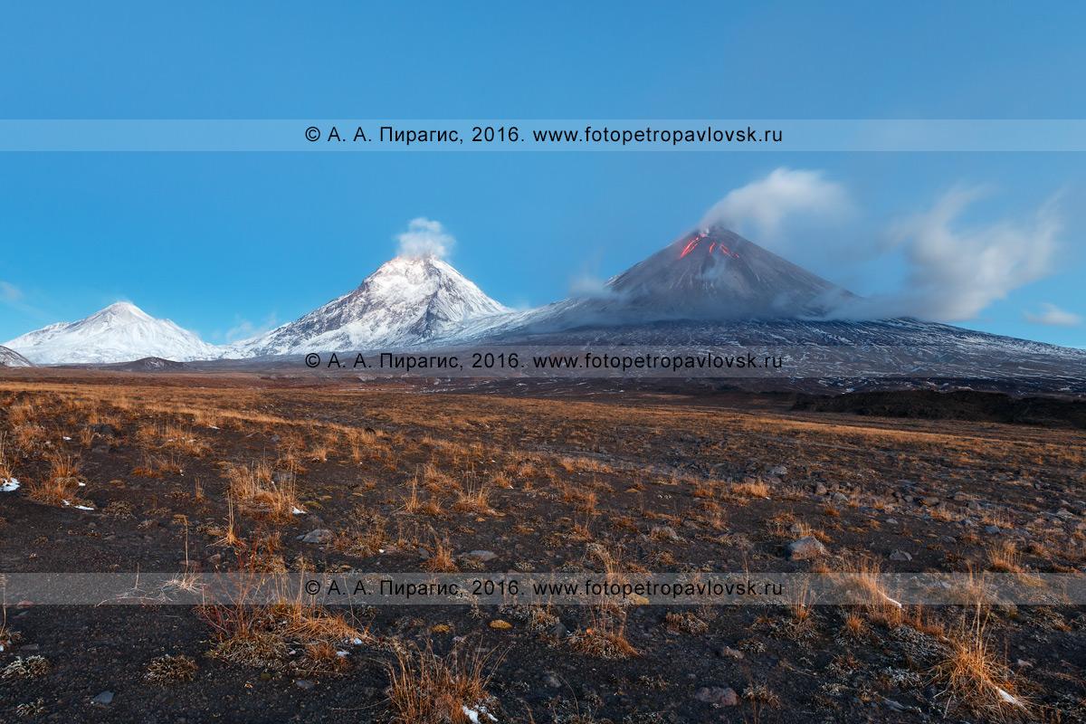 Фотография: вулканический пейзаж Камчатки — вулкан Безымянный, вулкан Камень и извергающийся вулкан Ключевской