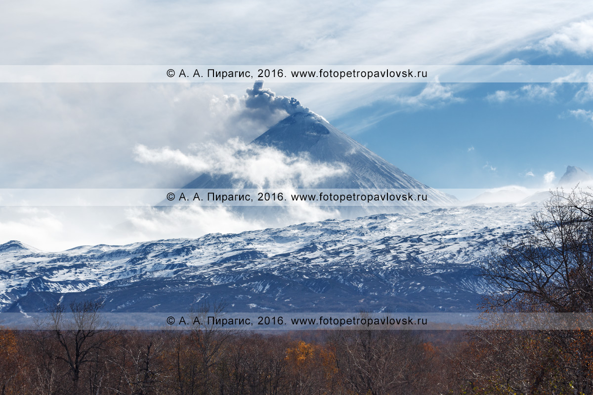 Фотография: извергающийся извергающийся Ключевской вулкан (Klyuchevskoy Volcano) в Камчатском крае
