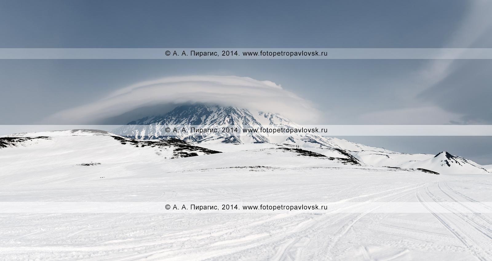 Панорама: зимний вид на действующий вулкан Корякская сопка (Koryaksky Volcano) на полуострове Камчатка