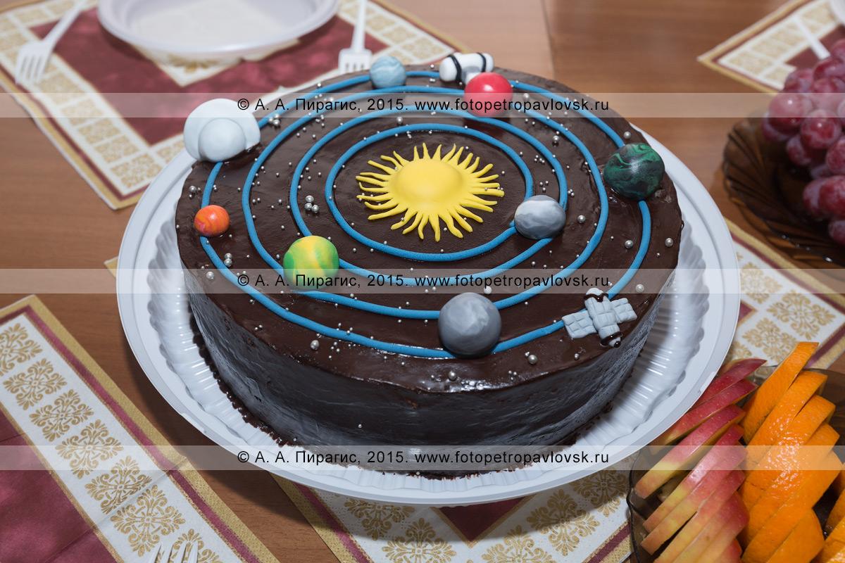 Фотография: празднично оформленный торт с изображением Солнца, планет Солнечной системы и летящих космических кораблей