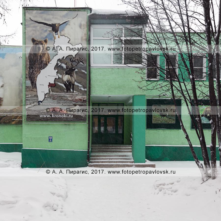 Фотография: вид на вход в административное здание Кроноцкого государственного природного биосферного заповедника, туристский визит-центр. Город Елизово Камчатского края