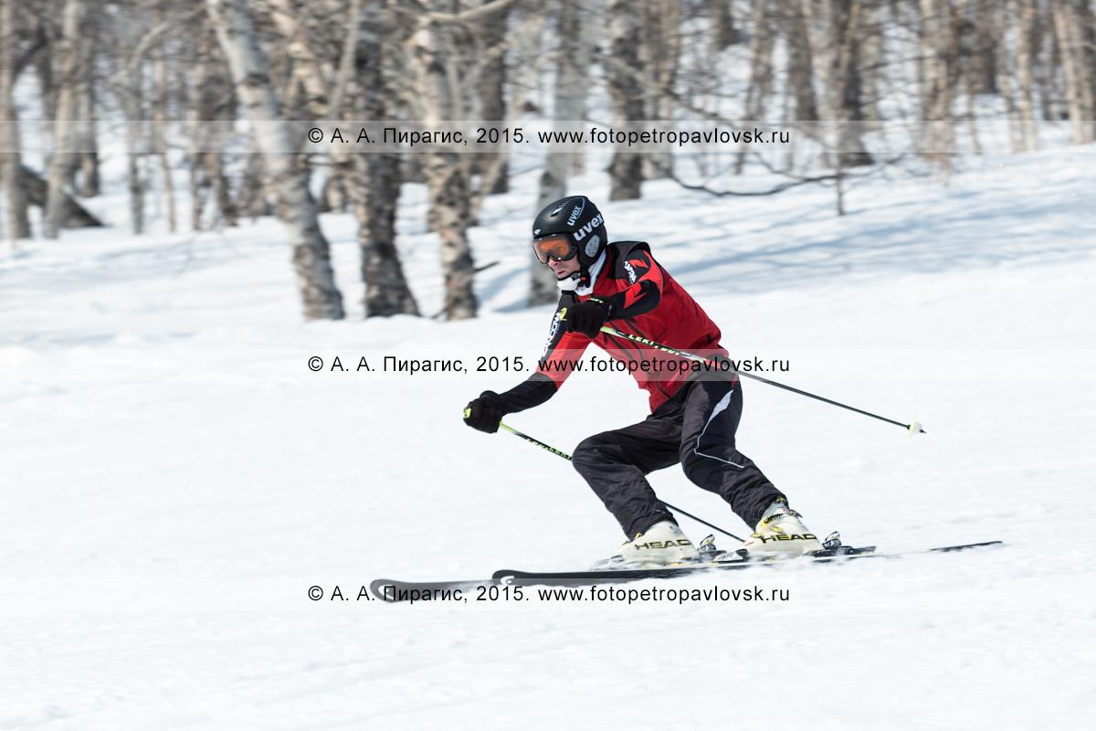 """Фотография: горнолыжный спорт на полуострове Камчатка — горнолыжник едет с горы Морозной. Камчатский край, Елизовский район, город Елизово, горнолыжная база """"Морозная"""""""