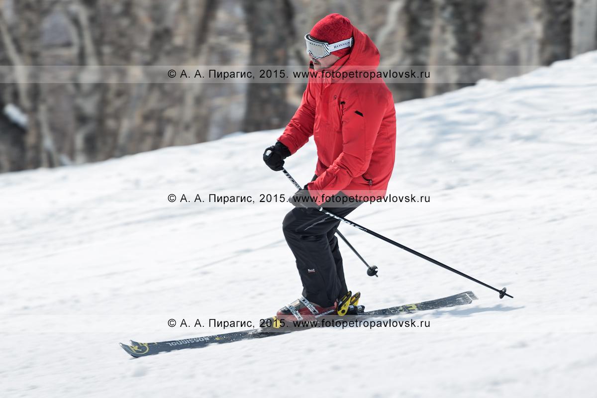 """Фотография: горнолыжник-мужчина спускается по склону горы Морозной. Горнолыжный спорт в Камчатском крае. Елизовский район, город Елизово, горнолыжная база """"Морозная"""""""