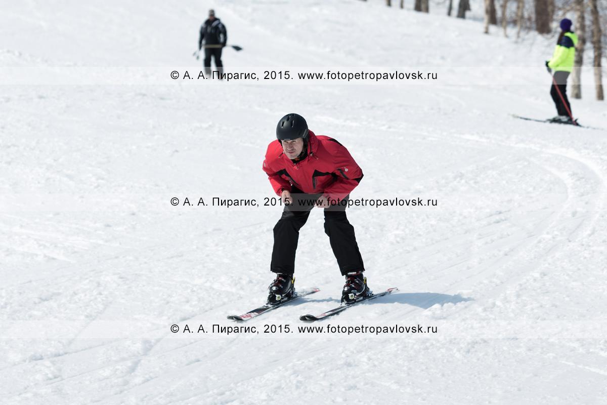 """Фотография: горнолыжный спорт на Камчатке — горнолыжник едет на лыжах без палок на горе Морозной. Горнолыжная база """"Морозная, город Елизово, Елизовский район Камчатского края"""