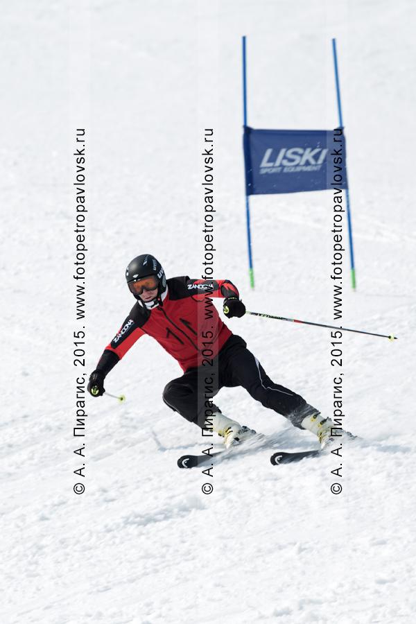 """Фотография: горнолыжная база """"Морозная"""", горнолыжник мчится на лыжах по склону горы Морозной. Город Елизово, Елизовский район Камчатского края"""