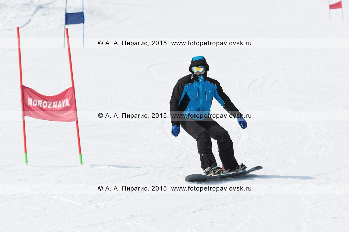 """Фотография: горнолыжная база """"Морозная"""", сноубордист спускается по склону горы Морозной. Камчатский край, Елизовский район, город Елизово"""