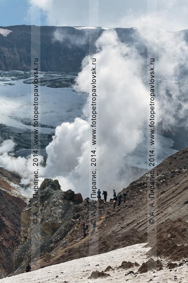 Фотография: камчатский пеший туризм — группа туристов и путешественников поднимается в кратер действующего вулкана Мутновский. Камчатский край, Мутновско-Гореловская группа вулканов