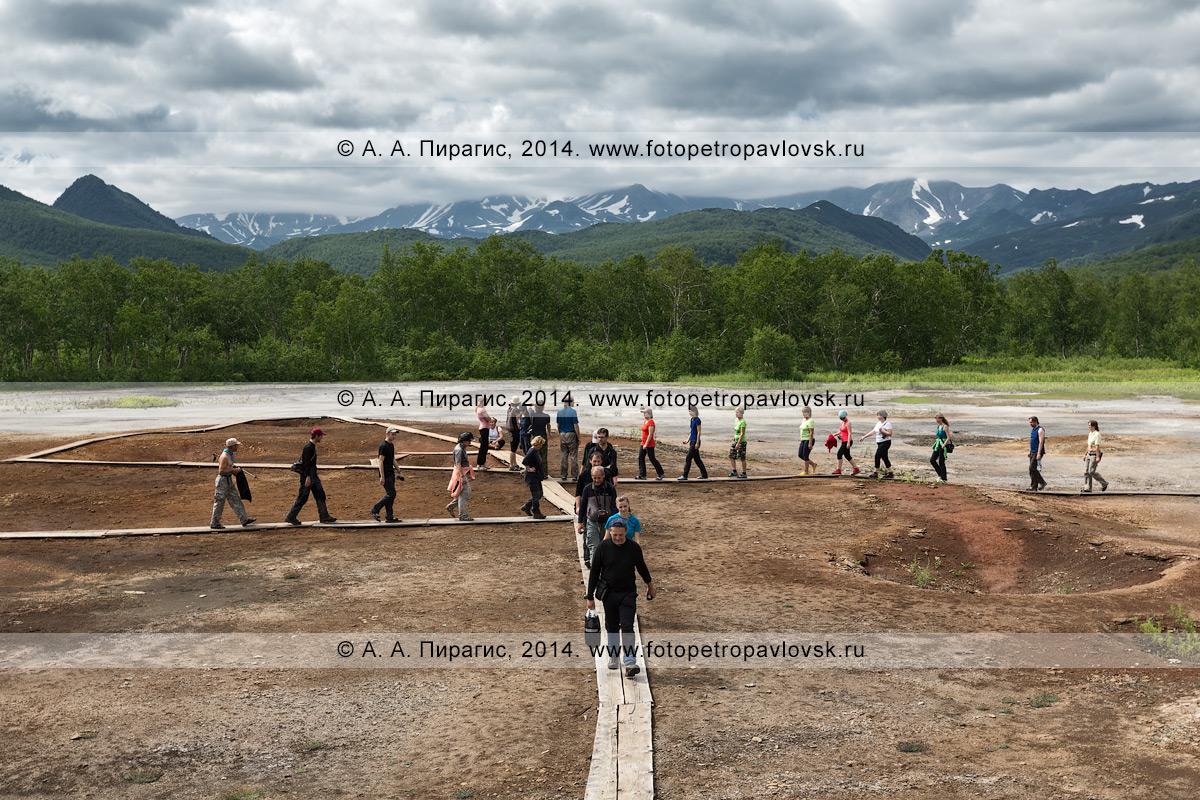 Туристы и путешественники идут по деревянному настилу (мосткам) на травертиновом щите Котел, или термальной площадке Котел. Камчатский край, Налычевский природный парк