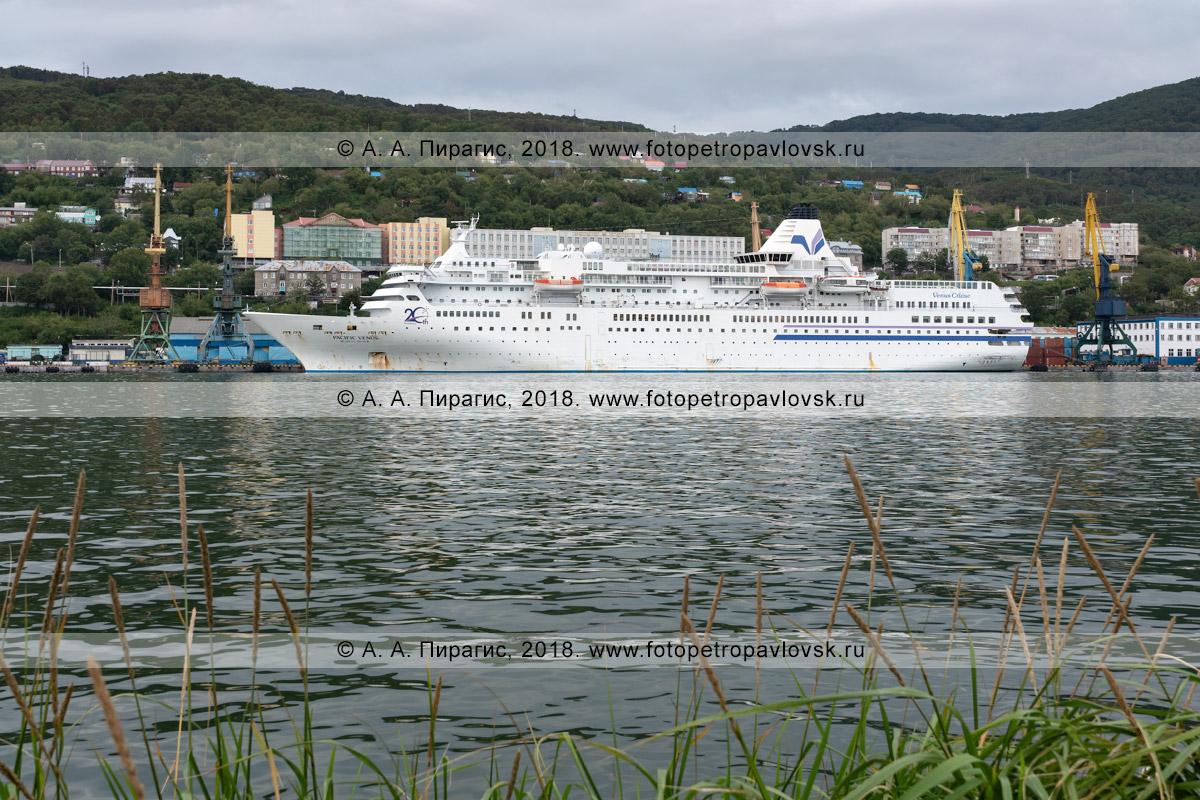 Фотография: японское круизное судно Pacific Venus стоит у таможенного причала в Петропавловск-Камчатском морском торговом порту