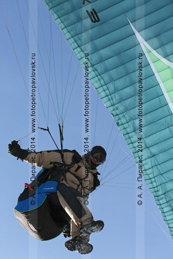 Фотография: камчатский спортсмен-парапланерист летит на параплане, вид снизу