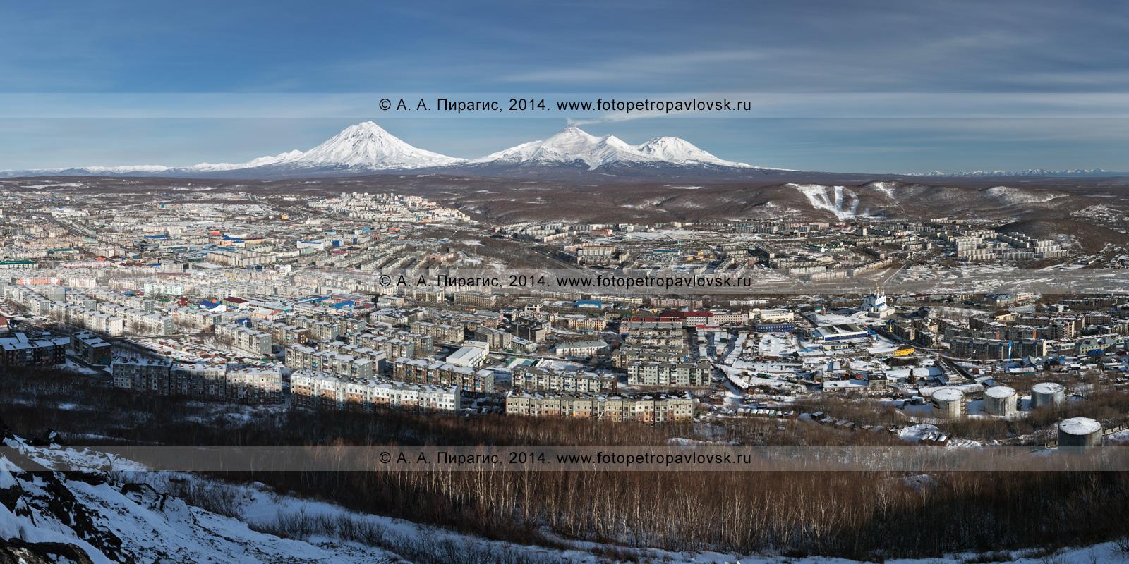 Фотография: панорама города Петропавловска-Камчатского, Корякский вулкан, Авачинский вулкан и Козельский вулкан. Камчатский край