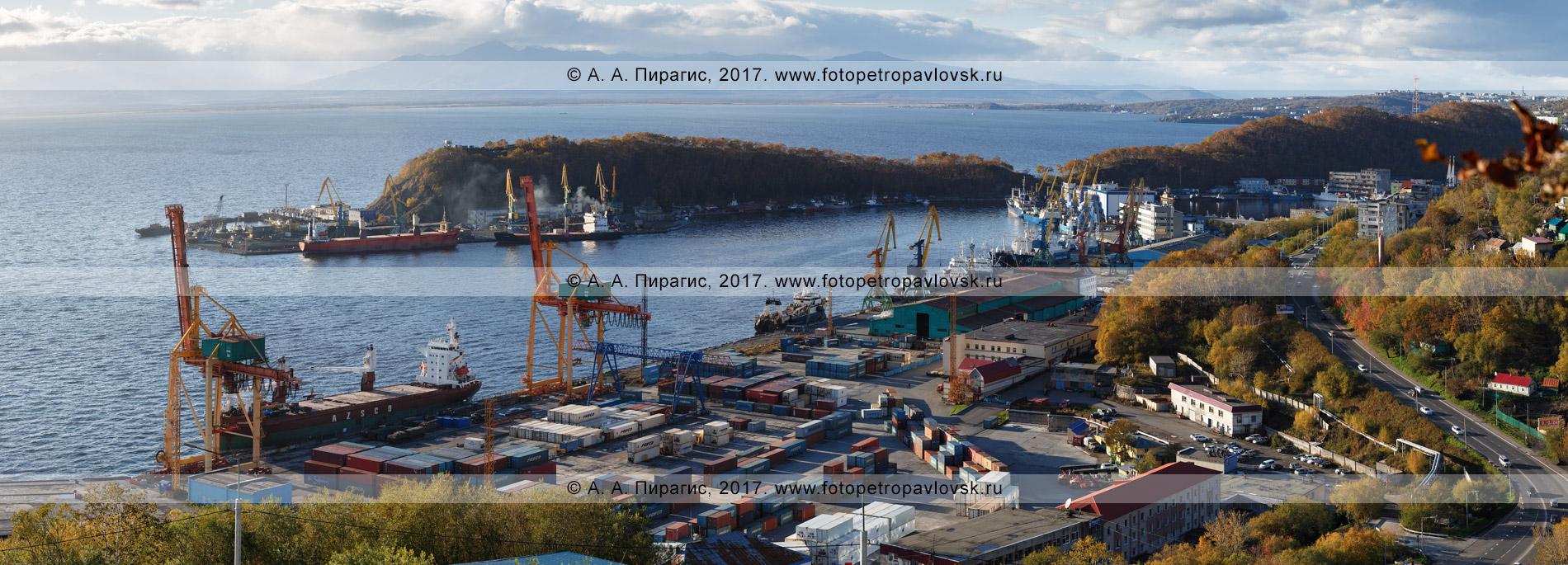 Фотография (панорама): Петропавловск-Камчатский морской торговый порт. Камчатский край, город Петропавловск-Камчатский, Авачинская бухта (Авачинская губа)