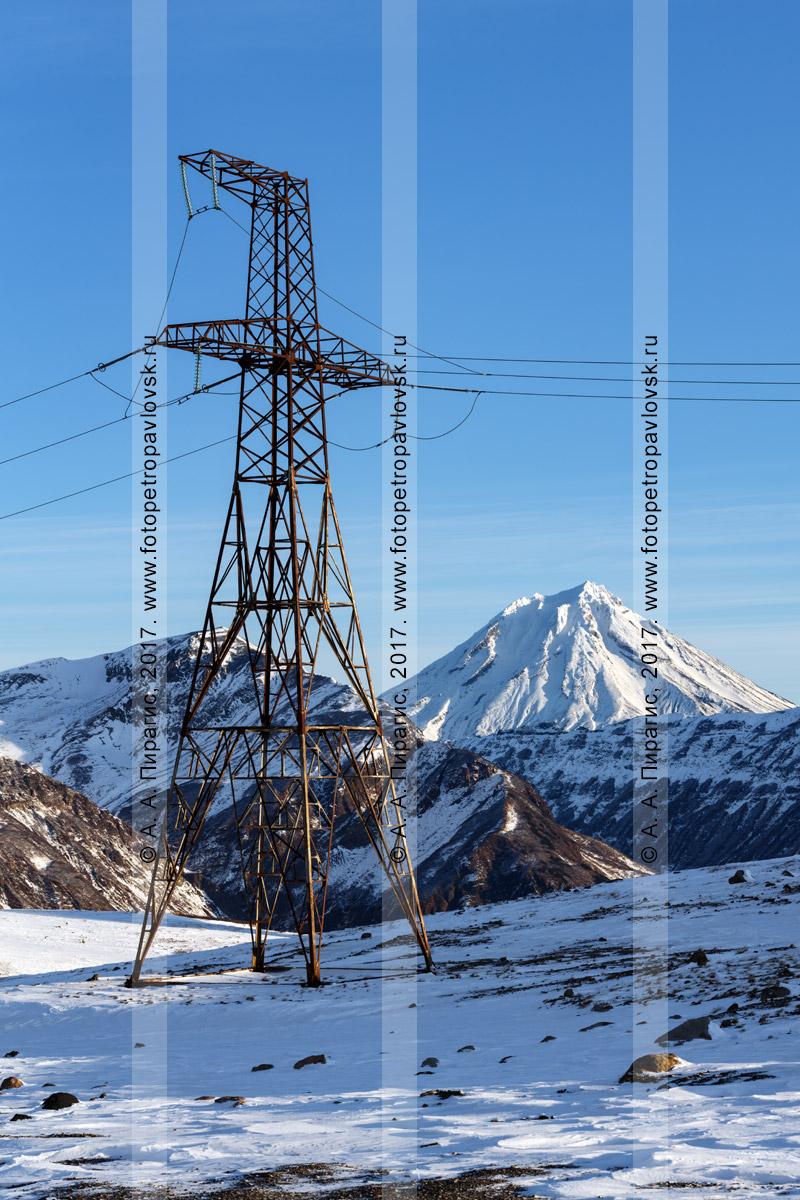 Фотография: высоковольтная линия электропередачи ВЛ-201, передающая электричество по маршруту Мутновская ГеоЭС — Центральный энергоузел Камчатского края