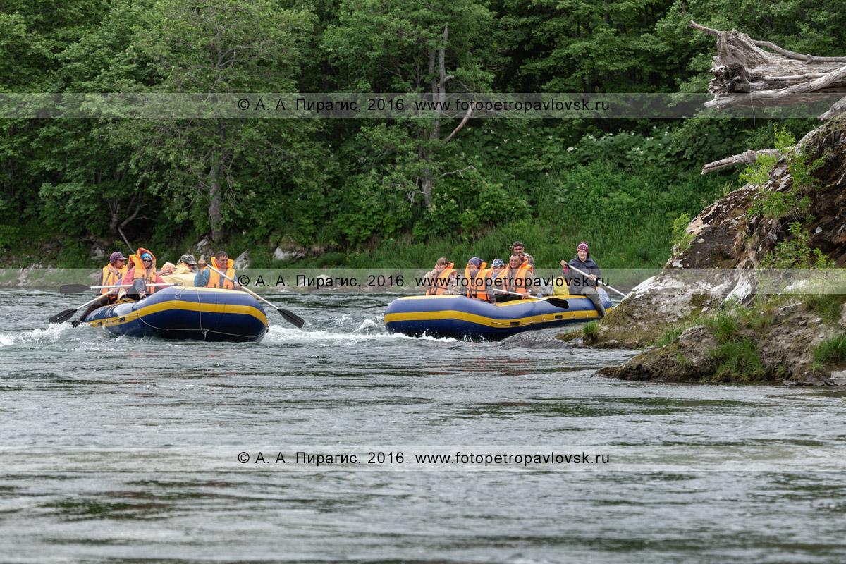 туристы и путешественники сплавляются на рафте по горной реке Быстрой Малкинской, наслаждаясь красивым летним ландшафтом, дикой природой полуострова Камчатка