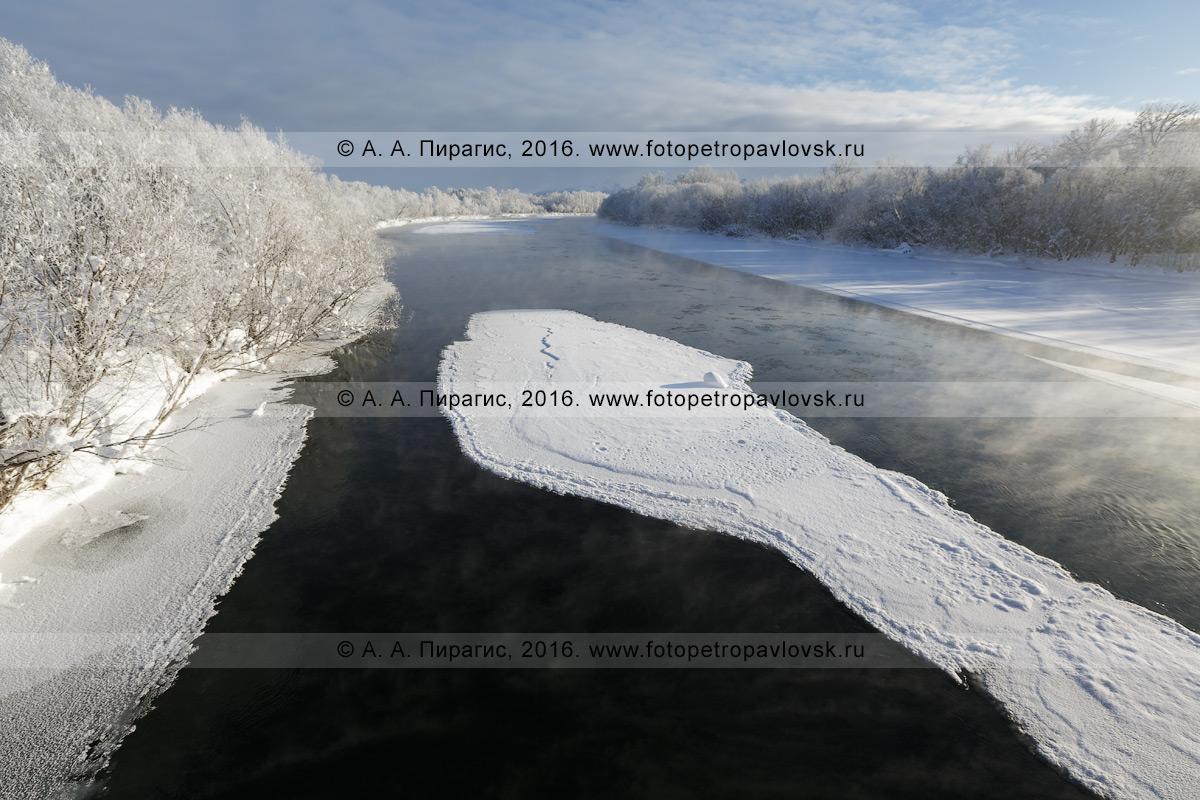 Фотография: зимний камчатский пейзаж — река Камчатка, живописный вид на реку Камчатку в окрестностях села Мильково в Камчатском крае