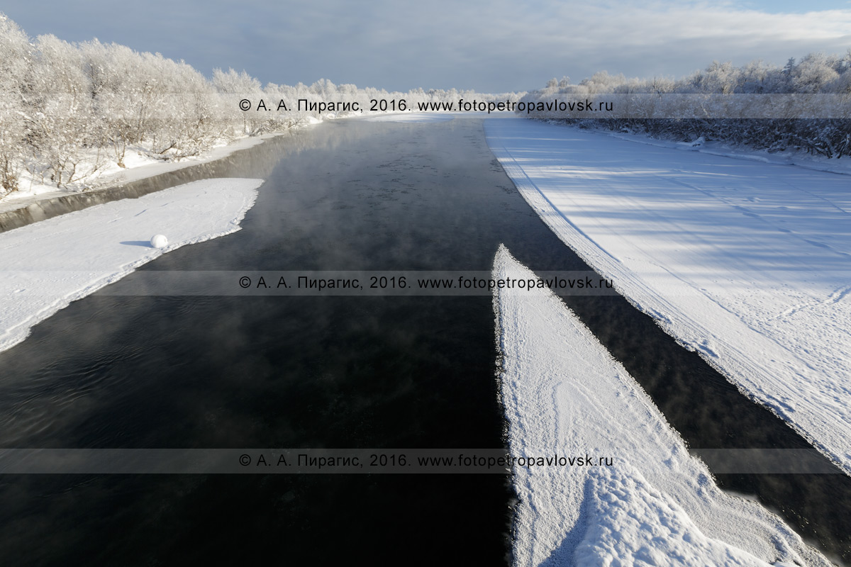 Фотография: камчатский пейзаж — река Камчатка, красивый вид на зимнюю реку Камчатку в окрестностях села Мильково на Камчатке