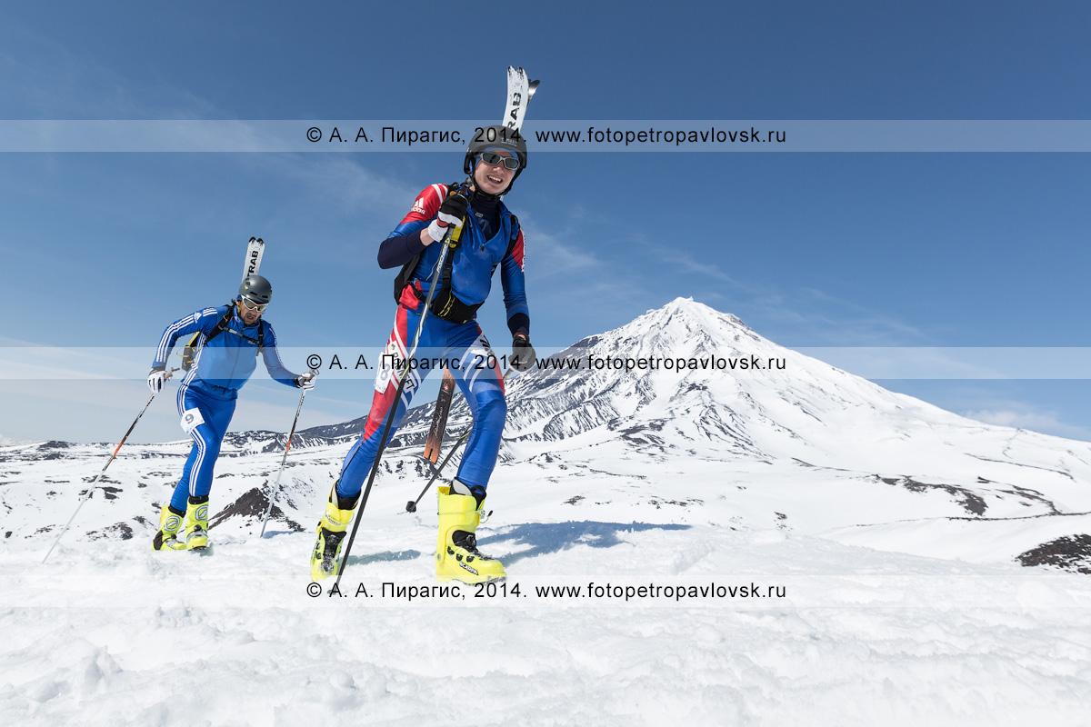 Фотография: ски-альпинисты Камчатского края Владимир Амангалиев и Денис Баранов идут пешком (с лыжами, пристегнутыми к рюкзаку) на Авачинский вулкан на фоне Корякского вулкана. Соревнования по ски-альпинизму — индивидуальная гонка. Камчатка