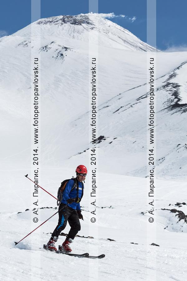 Фотография: камчатский ски-альпинист Власов Сергей спускается на лыжах с Авачинского вулкана. Соревнования по ски-альпинизму — индивидуальная гонка. Камчатка