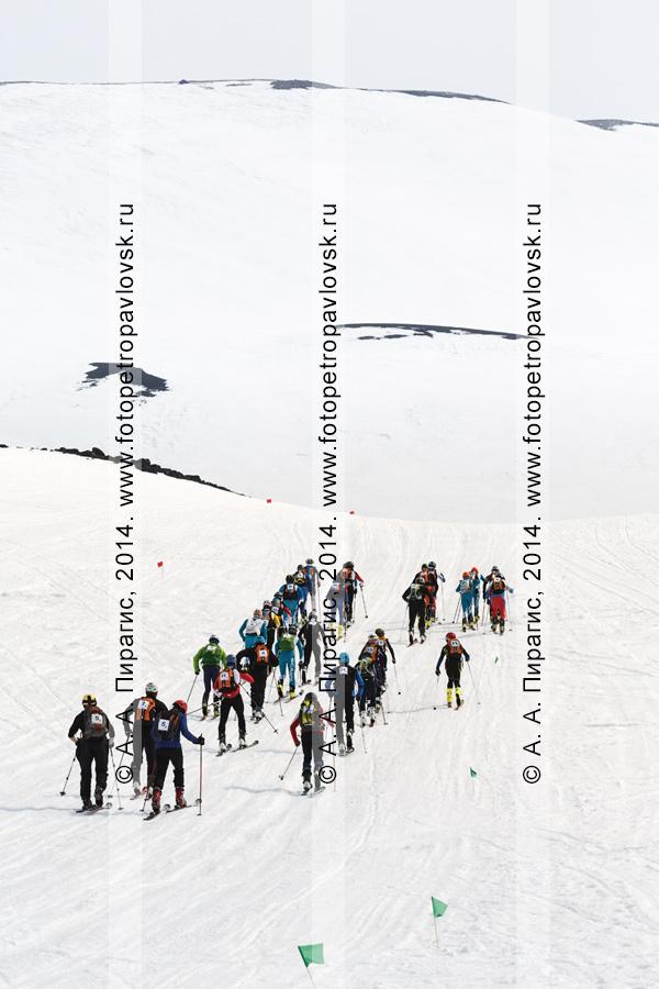 """Массовый подъем ски-альпинистов в гору на лыжах с пристегнутым камусом. Ски-альпинизм — командная гонка. Чемпионат Азии по ски-альпинизму, чемпионат и первенство России по ски-альпинизму, международные соревнования ISMF series """"Kamchatka Race"""", чемпионат и первенство Камчатского края по ски-альпинизму"""